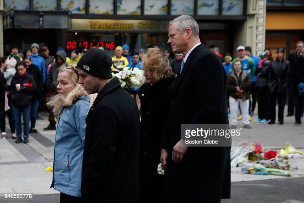 Patricia Campbell mother of Krystle Campbell walks away after laying a wreath at the site of one of the bombings in honor of her late daughter and...