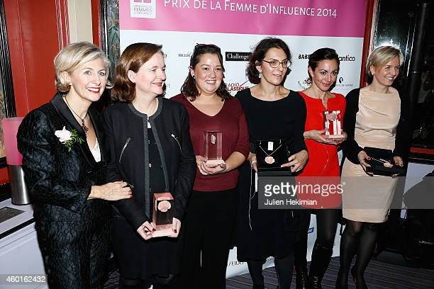 Patricia Chapelotte Nathalie Loiseau Mrs Ziouani Nathalie Balla Catherine Barba and Virginie Calmels are pictured after being awarded during the...