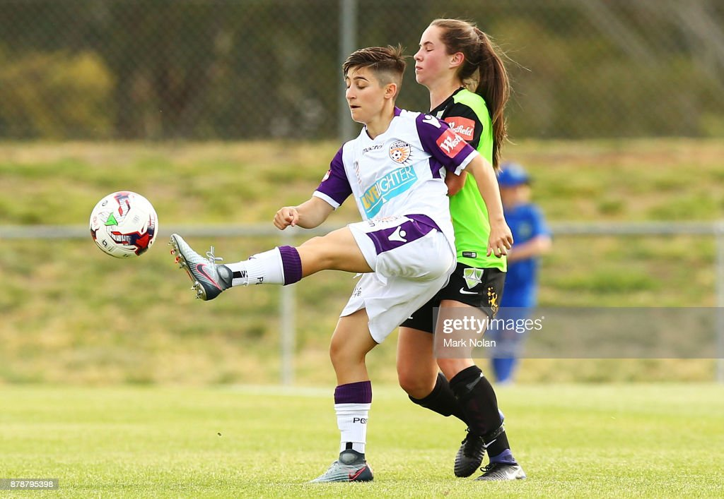 Patricia Charalambous of Perth in action during the round five W-League match between Canberra United and Perth Glory at McKellar Park on November 25, 2017 in Canberra, Australia.