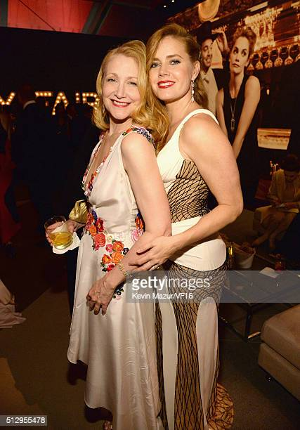 Patricia Clarkson and Amy Adams attend the 2016 Vanity Fair Oscar Party Hosted By Graydon Carter at the Wallis Annenberg Center for the Performing...