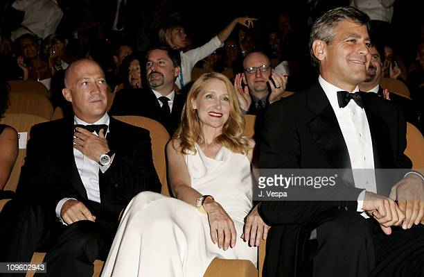 Patricia Clarkson and George Clooney during 2005 Venice Film Festival Good Night and Good Luck Premiere Inside at Sala Grande in Venice Lido Italy