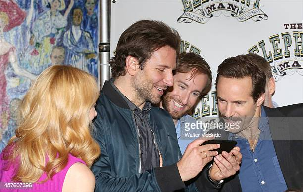 Patricia Clarkson Bradley Cooper Eric Clem and Alessandro Nivola attend the 'The Elephant Man' Broadway Cast photo call at Sardi's on October 21 2014...
