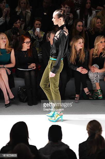 Patricia Clarkson Jo Andres Ella Rae Peck and Nastia Liukin attend the Nanette Lepore Fall 2013 fashion show during MercedesBenz Fashion Week at The...