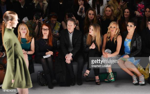 Patricia Clarkson Jo Andres Steve Buscemi Ella Rae Peck Nastia Luikin and Aly Raisman attend the Nanette Lepore Fall 2013 fashion show during...