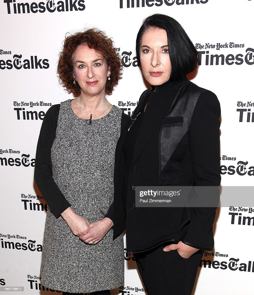 Patricia Cohen and Marina Abramovic attend TimesTalks: Marina Abramovic at TheTimesCenter on March 15, 2013 in New York City.