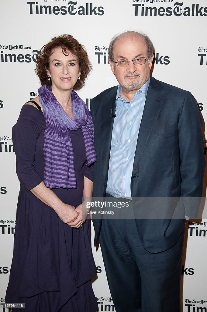 Patricia Cohen and Salman Rushdie attends TimeTalks Presents: Freedom and Moral Courage Salman Rushdie and Ai Wei Wei at Times Center on May 3, 2013 in New York City.