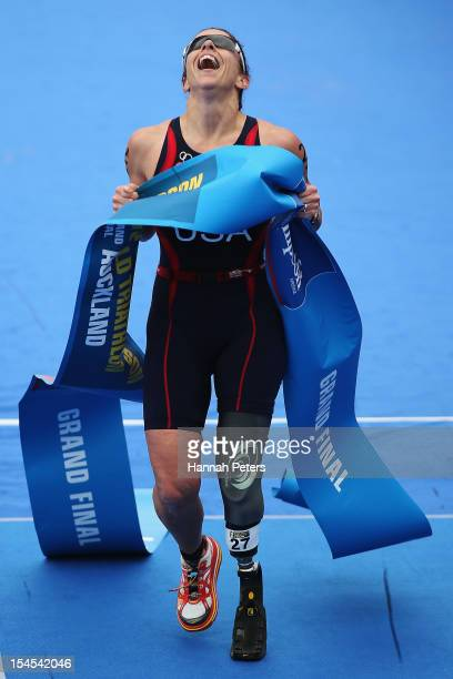 Patricia Collins of the United States of America celebrates after winning the Paratriathlon Female Tri-5 race on October 22, 2012 in Auckland, New...