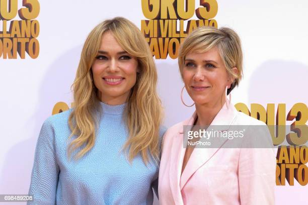 Patricia Conde and Kristen Wiig attends 'Gru Me 3' photocall at Santo Mauro Hotel on June 20 2017 in Madrid Spain