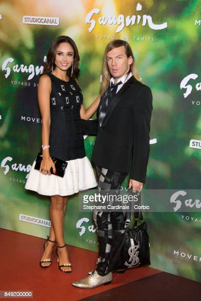 Patricia Contreras and Fashion designer Christophe Guillarme attend the 'Gauguin Voyage De Tahiti' Paris Premiere at Cinema Gaumont Capucine on...