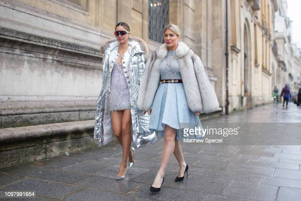 Patricia Contreras and Hofit Golan are seen on the street attending Célia Kritharioti show during Paris HAUTE COUTURE Fashion Week wearing Célia...