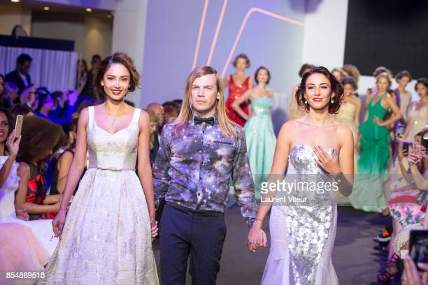 Patricia Contreras Christophe Guillarme and Delphine Wespiser walk the runway during the Christophe Guillarme show as part of the Paris Fashion Week...