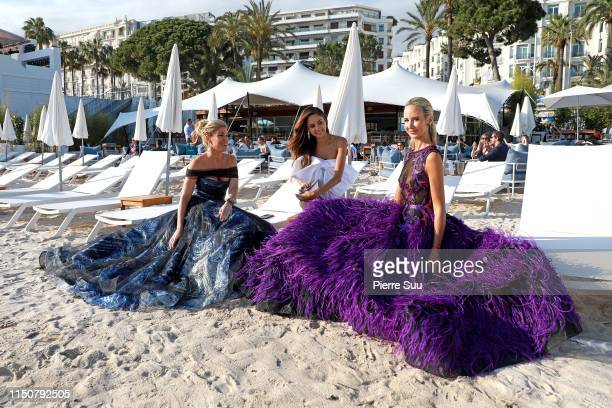 Patricia Contreras Lady Victoria Harvey and Hofit Golan are seen on the beach during the 72nd annual Cannes Film Festival at on May 21 2019 in Cannes...