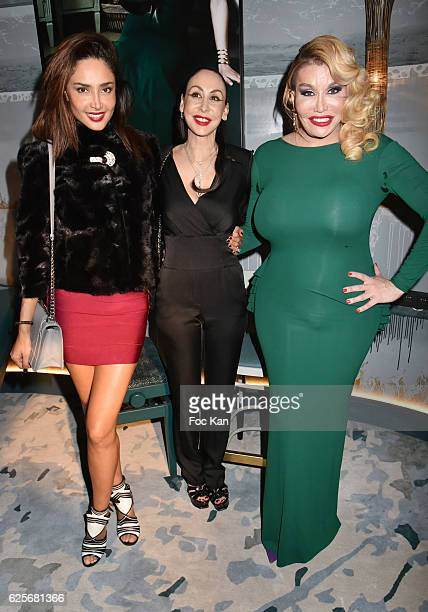 Patricia Contreras Stefanie Renoma and Allanah Starr attend 'Vibrations' Stefanie Renoma Photo Exhibition at Hotel Nolinski on November 24 2016 in...