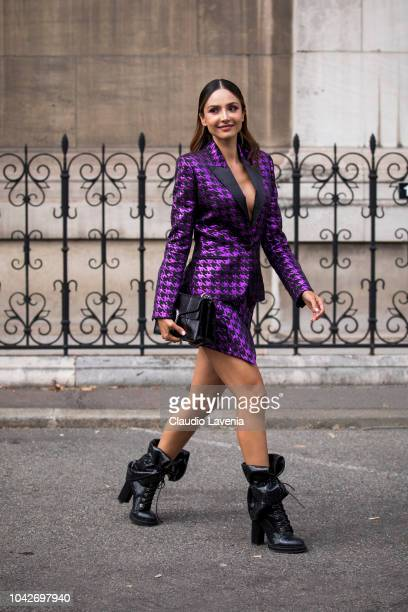 Patricia Contreras wearing a purple and black pied de poule jacket with  matching skirt black boots 3346733cf2f