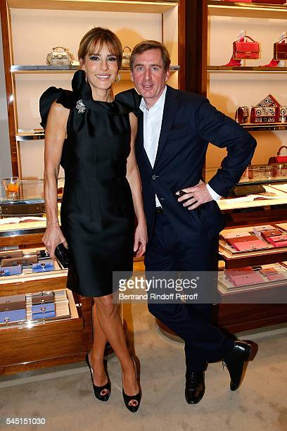 Patricia D'arenberg and CharlesHenri de Lobkowicz attend the Re Opening of Salvatore Ferragamo Boutique at Avenue Montaigne on July 5 2016 in Paris...