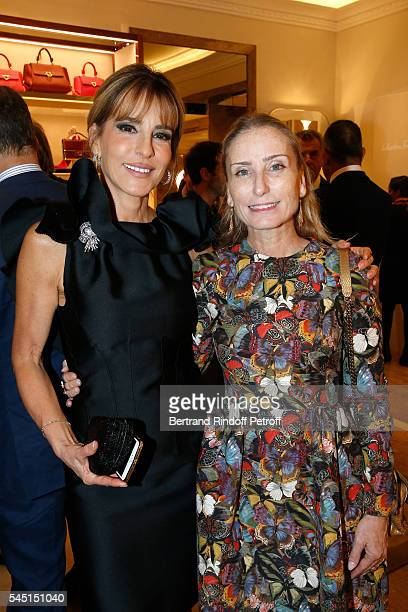 Patricia D'arenberg and Paola d'Assche attend the Re Opening of Salvatore Ferragamo Boutique at Avenue Montaigne on July 5 2016 in Paris France