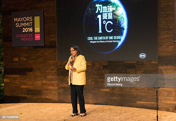 Patricia de Lille mayor of Cape Town speaks during the C40 Mayors Summit in Mexico City Mexico on Thursday Dec 1 2016 The C40 Mayors Summit brings...