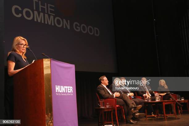 Patricia Duff David Frum Ed Rollins Douglas Brinkley Roger Cohen and Dana Perino attend 'Trump Year One' Presidential Panel on January 17 2018 in New...