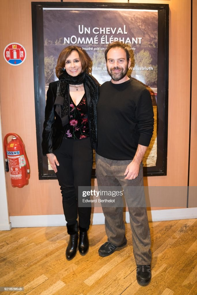 Patricia Ercole, Colombian actress, and Andres Waissbluth, Chilean film director, are seen during the Un caballo llamado Elefante - Un Cheval Nomme Elephant : Photocall At Cinema Les 7 Parnassiens, on February 20, 2018 in Paris, France.