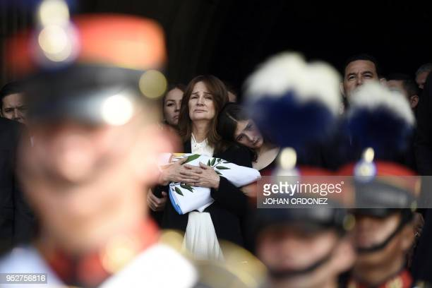 Patricia Escobar widow of former Guatemalan President and Guatemala City Mayor Alvaro Arzu grieves during his funeral at Culture Palace in Guatemala...