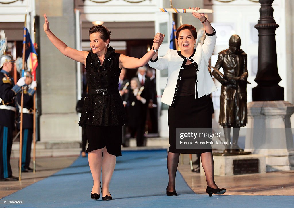 Patricia Espinosa (R) and Christiana Figueres (L), Princess of Asturias Awards for International Cooperation 2016 attends the Princesa de Asturias Awards 2016 ceremony at the Campoamor Theater on October 21, 2016 in Oviedo, Spain.