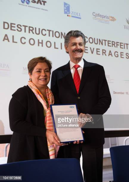 Patricia Espinosa Cantellano Mexico's ambassador to Germany and Miguel Angel Dominguez Morales president of the Tequila regulation council CRT hold...