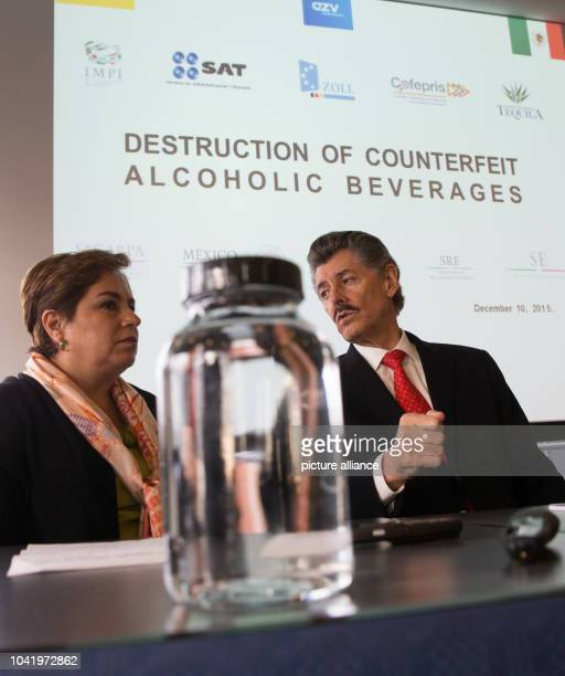 Patricia Espinosa Cantellano Mexico's ambassador to Germany and Miguel Angel Dominguez Morales president of the Tequila regulation council CRT sit...