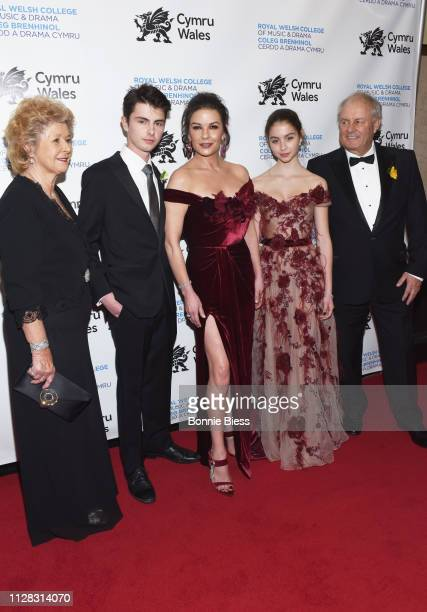 Patricia Fair Dylan Michael Douglas Catherine ZetaJones Carys Zeta Douglas and David James Jones attend The Royal Welsh College of Music Drama 2019...