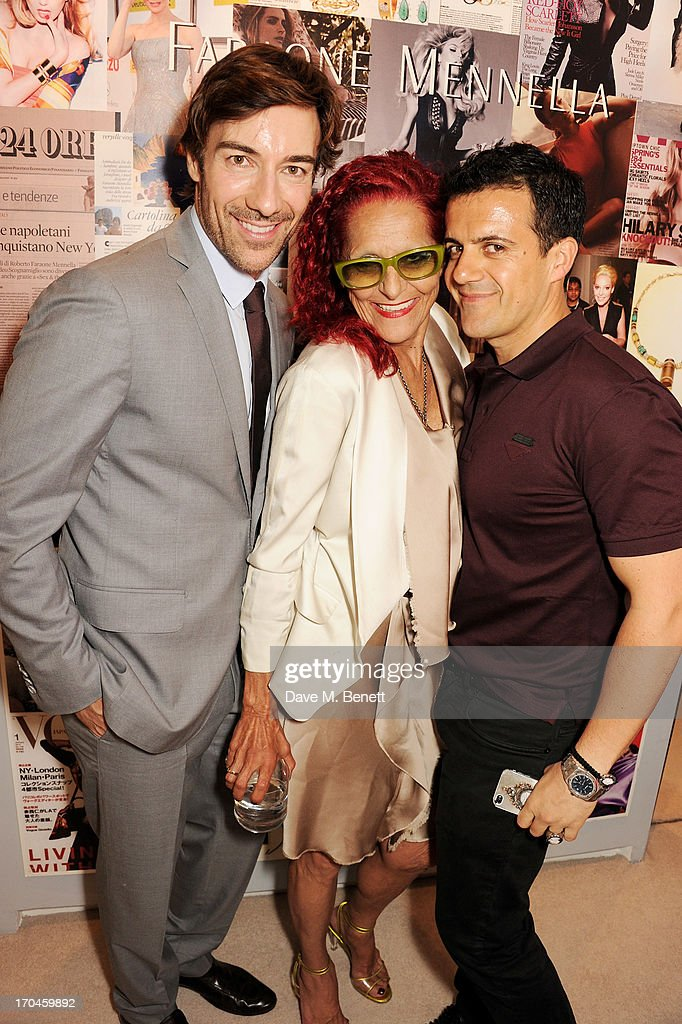 Patricia Field (C) poses with Faraone Mennella designers Roberto Faraone Mennella and Amedeo Scognamiglio attend the 12th birthday of New York jewellery house Faraone Mennella, with guest of honour Patricia Field, at their Knightsbridge store on June 13, 2013 in London, England.