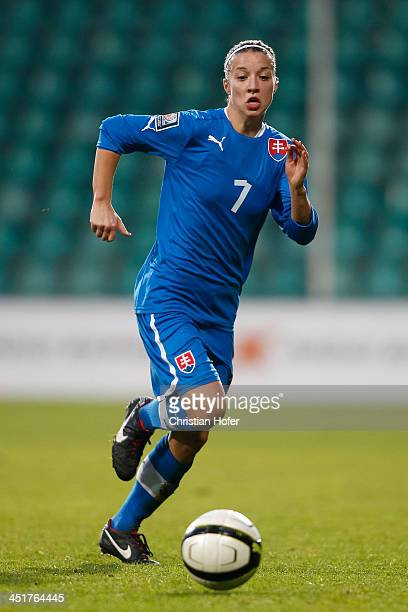 Patricia Fischerova of Slovakia controls the ball during the FIFA Women's World Cup 2015 Qualifier between Slovakia and Germany at Stadion pod Dubnom...