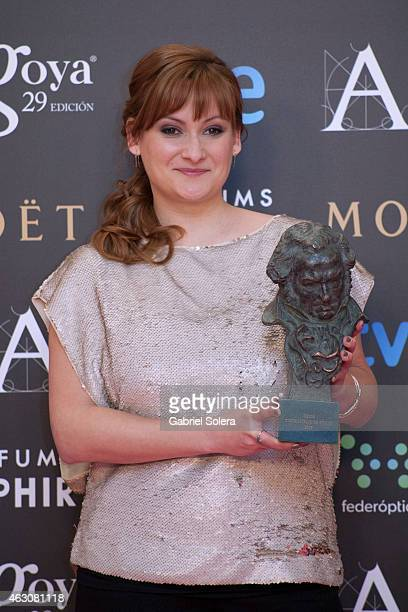 Patricia Font holds the award for Best Short Film Live Action in the film 'Cafe para llevar' during the 2015 edition of the 'Goya Cinema Awards' at...