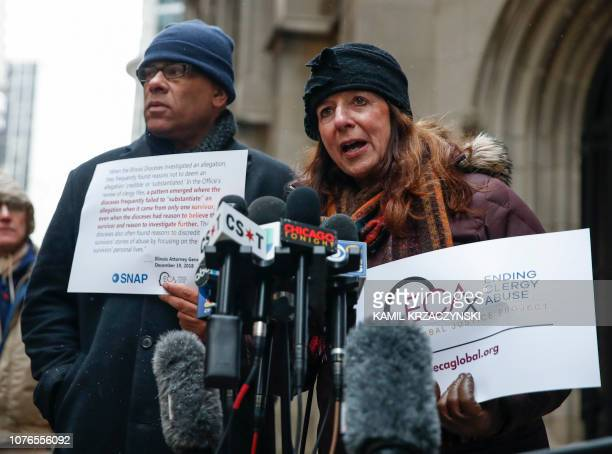 Patricia Gallagher Marchant a victim of clergy abuse speaks during a press conference outside the Archdiocese of Chicago on January 2 2019 in Chicago...