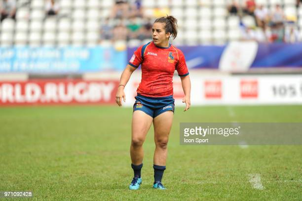 Patricia Garcia of Spain during the women match between Spain and England at the HSBC Paris Sevens stage of the Rugby Sevens World Series at Stade...