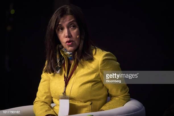 Patricia Gastelumendi chief financial officer of Ferreycorp SAA speaks during the Peru CFO Summit in Lima Peru on Thursday Aug 16 2018 The summit...