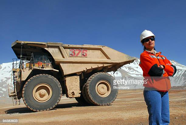 Patricia Guajardo stands near the mining truck she drives at Barrick Gold Corp's Veladero mine in the San Juan province of Argentina on Tuesday Oct...