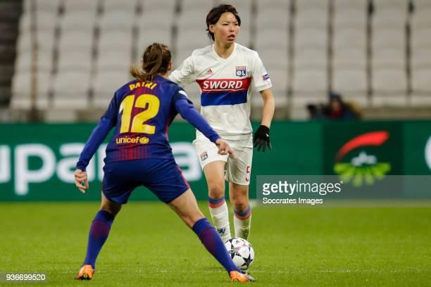 Patricia Guijarro Gutierrez of FC Barcelona Women Saki Kumagai of Olympique Lyon Women during the match between Olympique Lyon Women v FC Barcelona...