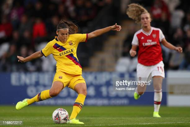 Patricia Guijarro of Barcelona scores her sides first goal during the Pre Season Friendly match between Arsenal and Barcelona at Meadow Park on...