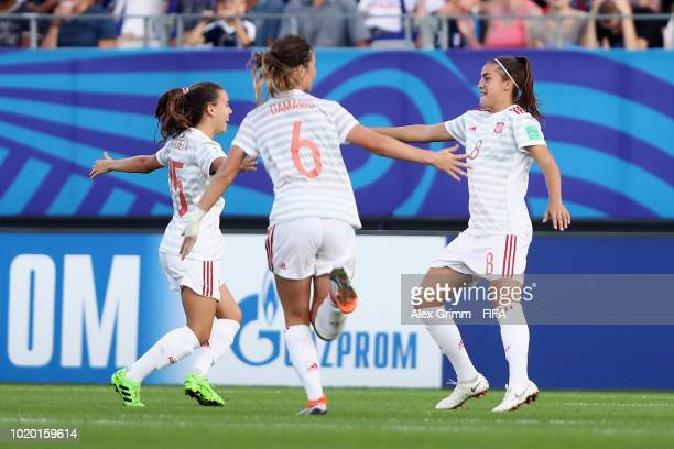 Patricia Guijarro of Spain celebrates her team's first goal during the FIFA U20 Women's World Cup France 2018 Semi Final semi final match between...