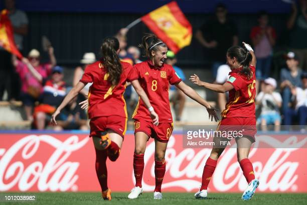 Patricia Guijarro of Spain celebrates her team's first goal with team mates during the FIFA U-20 Women's World Cup France 2018 group C match between...