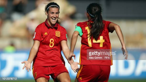 Patricia Guijarro of Spain celebrates her team's fourth goal with team mate Aitana Bonmati during the FIFA U20 Women's World Cup France 2018 group C...