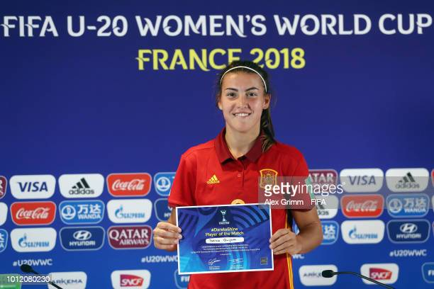 Patricia Guijarro of Spain poses for a photo after being awarded 'Player of the match' after the FIFA U-20 Women's World Cup France 2018 group C...