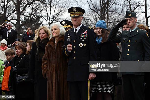 Patricia Haig widow of Gen Alexander Haig attends his burial service with friends and family at Arlington National Cemetery March 2 2010 in Arlington...