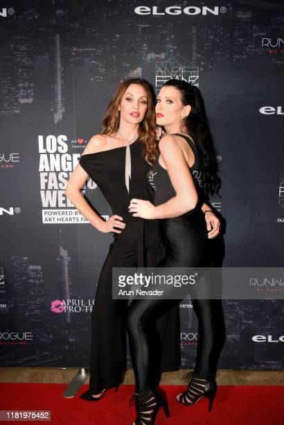 Patricia Hartmann and Shannon Elizabeth backstage during Los Angeles Fashion Week SS/20 Powered by Art Hearts Fashion Day 2 on October 18 2019 in Los...