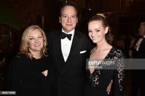 "Patricia Hearst Shaw, George Farias and Lydia Hearst attend Hearst Castle Preservation Foundation Benefit Weekend ""James Bond 007 Costume Gala"" at..."