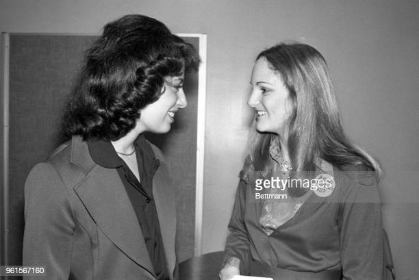 Patricia Hearst who has remained out of the spotlight since she was released from prison chats with the late Re Leo Ryan's aide Jackie Speier at...