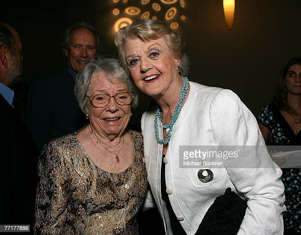 ACCESS*** Patricia Hitchcock O'Connell and actress Angela Lansbury pose in the Target Red Room during AFI's 40th Anniversary celebration presented by...