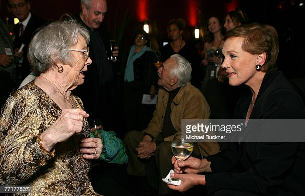 ACCESS*** Patricia Hitchcock O'Connell and actress Julie Andrews pose in the Target Red Room during AFI's 40th Anniversary celebration presented by...