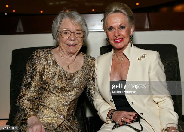 ACCESS*** Patricia Hitchcock O'Connell and actress Tippi Hedren pose in the Target Red Room during AFI's 40th Anniversary celebration presented by...