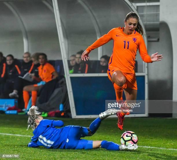 Patricia Hmirova of Slovakia women Lieke Martens of Holland Women during the World Cup Qualifier Women match between Slovakia v Holland at the...