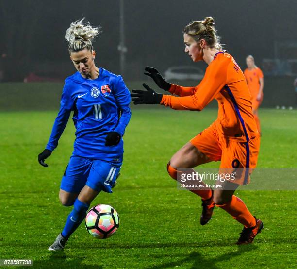 Patricia Hmirova of Slovakia women Vivianne Miedema of Holland Women during the World Cup Qualifier Women match between Slovakia v Holland at the...